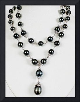 Black Tahitian South Sea Pearls,Diamonds,Platinum,