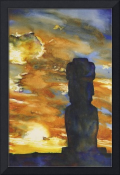 Watercolor painting of moai- Easter Island, Chile