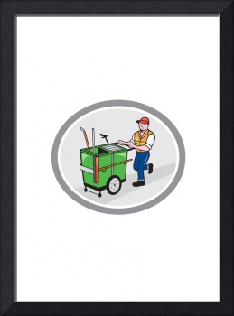 Street Cleaner Pushing Trolley Oval Cartoon