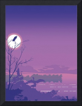 Abstract Tropical Birds Purple Sunset Pop Art