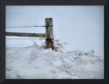Rustic Gate Post in Snow