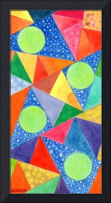 Lime Green Circles within a Cool Triangles Patte