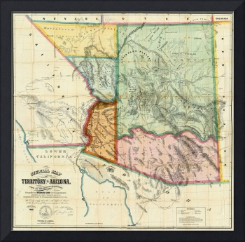 Vintage Map of Arizona (1865)