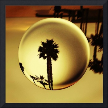 Golden Palm Tree Crystal Sunset
