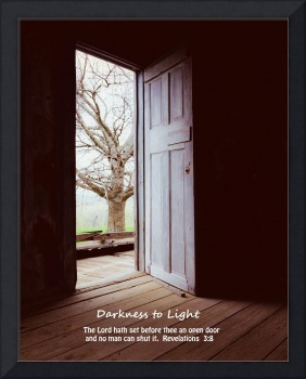 Open Door with Bible verse-Darkness to Light