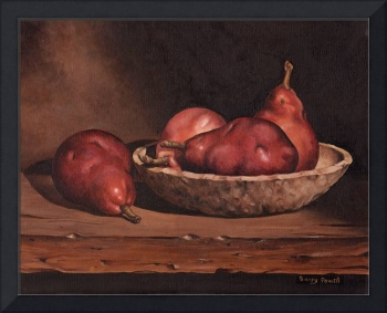 Pears and Wood Bowl