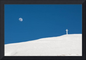 The cross of Monte Catria and the Moon, Italy