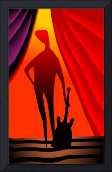 Silhouette of violinist in a colourful stage