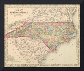 Vintage Map of North Carolina (1859)