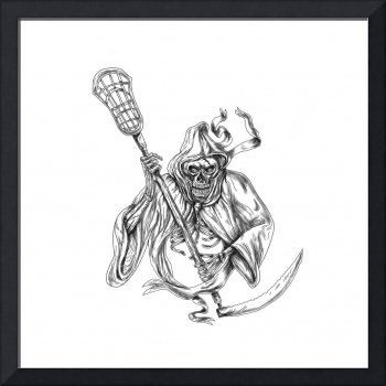 Grim Reaper Lacrosse Defense Pole Tattoo