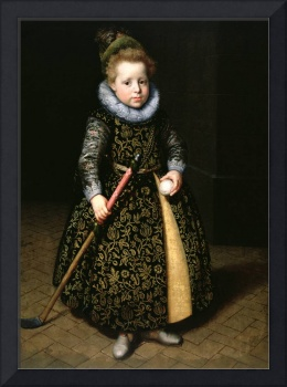 Portrait of a four-year old boy with club and ball