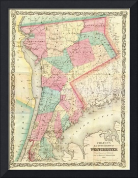 Vintage Map of Westchester New York (1864)