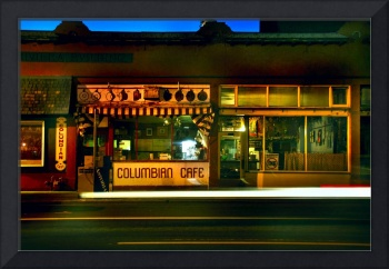 columbia cafe at night