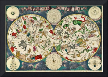 De Wit's Celestial Hemispheres, North and South, 1