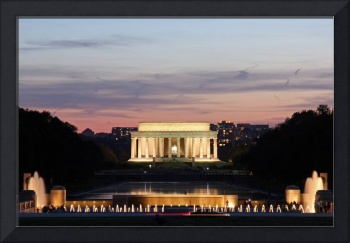 WWII Memorial, Reflecting Pool and Lincoln at Dusk