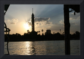 Cairo from the river at sunset