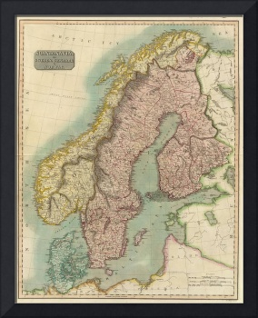Vintage Map of Norway and Sweden (1817)