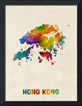 Hong Kong Watercolor Map