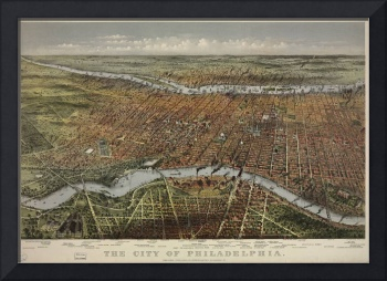 Vintage Pictorial Map of Philadelphia PA (1875)