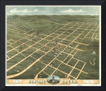 Vintage Pictorial Map of Bowling Green KY (1871)