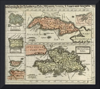 Vintage Map of The Caribbean Islands (1630)