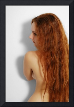 Nude woman with red long hair.