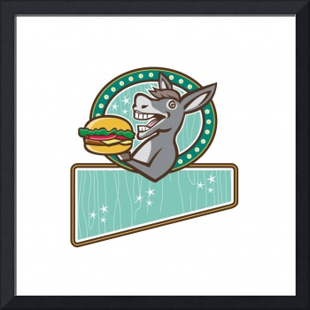Donkey Mascot Serve Burger Rectangle Oval Retro