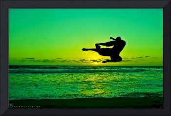 Martial Arts Flying Kick Man Silhouette in Sunset