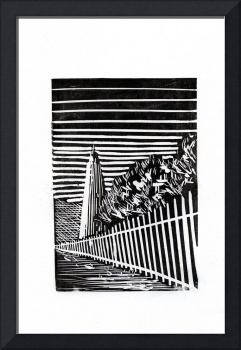 Fine art black and white print of etching of histo