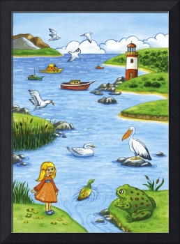 Kids room art, Lighthouse landscape