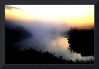 Mist on the river at sunrise