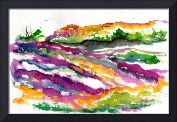 Abstract Landscape Lavender Fields Watercolor