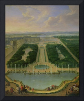 Perspective view of the chateau of Versailles seen