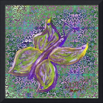 purple and green butterfly with swirly background