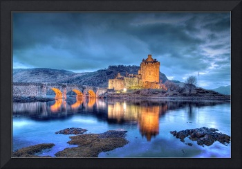 Eilean Donan Castle in Scotland at Night