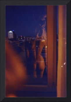 Sexy young woman nude in hotel room analogue film