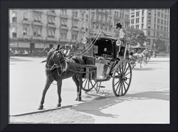 A hansom at Madison Square, New York, 1900