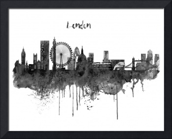 London Black and White Skyline watercolor