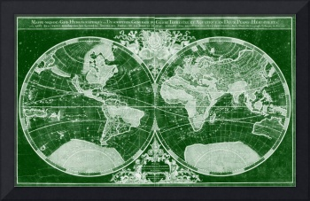 World Map (1691) Green & White