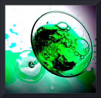 GREEN BEVERAGE IN GLASS WITH BUBBLES STILL LIFE PH