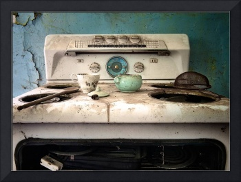 stovetop in an abandoned house