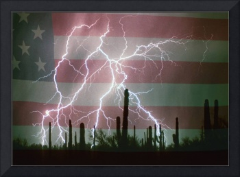 Lightning Storm in the USA Desert Flag Background