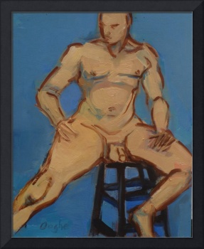 Nude on Black Barstool