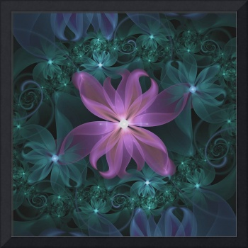 Pink and Turquoise Wedding Cremon Fractal Flowers