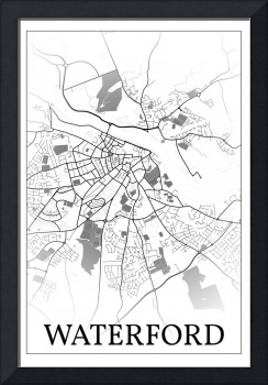 Waterford, Ireland, city map print.