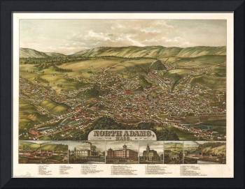 1881 North Adams, MA Birds Eye View Panoramic Map