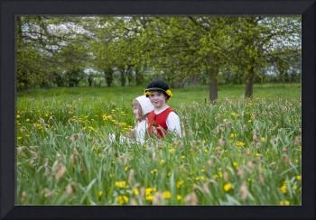 Tudor children among the daffodils