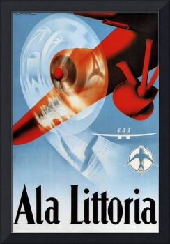 Ala Littoria Vintage Airline Travel Poster
