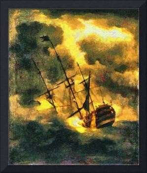 A digital painting of HMS Victory launched 1737, w