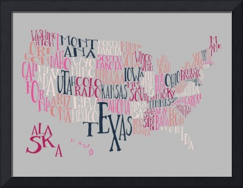 Pink Punch US Typography Map